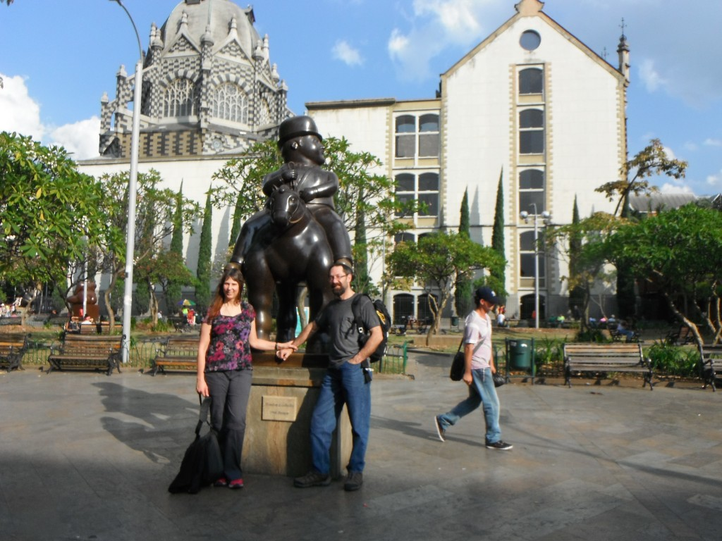 Brad and me, later that day in Botero Square, Medellin.